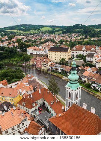 Cesky Krumlov city view from Cesky Krumlov castle tower