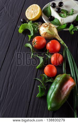 Vegetables for cooking Greek salad. Close up