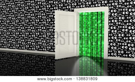 Open white backdoor in a black wall with eyes leading to a digital green stream made from ones and zeros cybersecurity concept 3D illustration