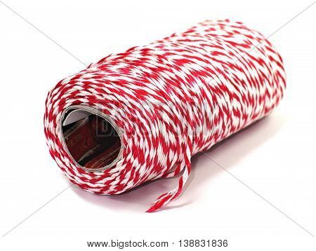 red and white corduroy rope roll isolated on white background