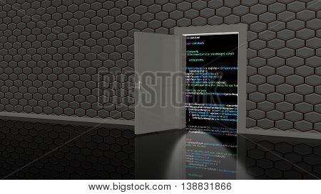 Door in a wall in a black room textured with hexagons leading to a computer code background 3D illustration backdoor concept