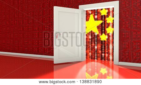 Open white backdoor in a red wall leading to a Chinese digital flag made from ones and zeros cybersecurity concept 3D illustration