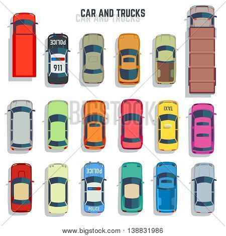 Cars and trucks top view flat vector icons. Set of car and sedan car for transportation illustration
