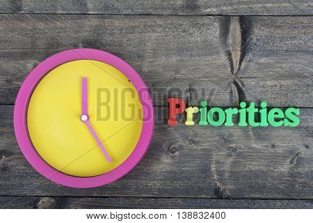 Priorities word on wooden table