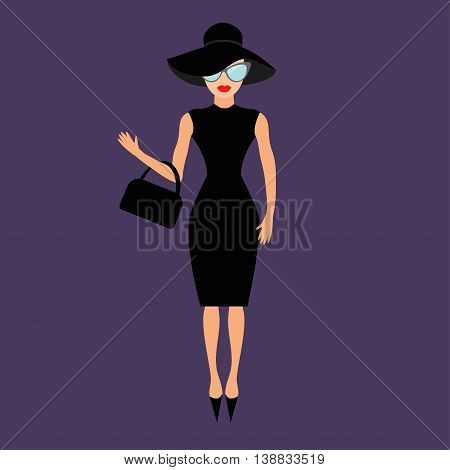 Woman in black elegant hat bag and sunglasses waving. Rich and beautiful celebrity girl. Beauty fashion model face red lips. People collection Cute cartoon character Flat Violet background Vector