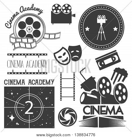 Vector set of cinema logo and labels. Movie studio and theater badges, emblems, signs. Illustration in vintage retro style. Posters, stamps, banners and design elements.