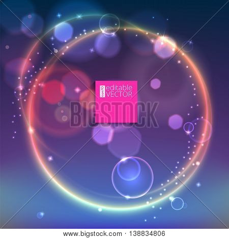 Abstract ring background with luminous swirling sparkle. Glowing spiral. Shine round frame with circles light effect on bright background with bokeh effect.