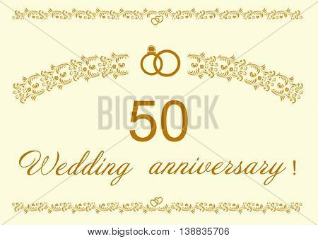 50th Wedding anniversary Invitation editable and scaleable vector illustration