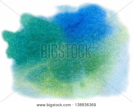 Abstract blue, green, and yellow spots isolated on white background. Hand painted watercolor illustration and paper texture