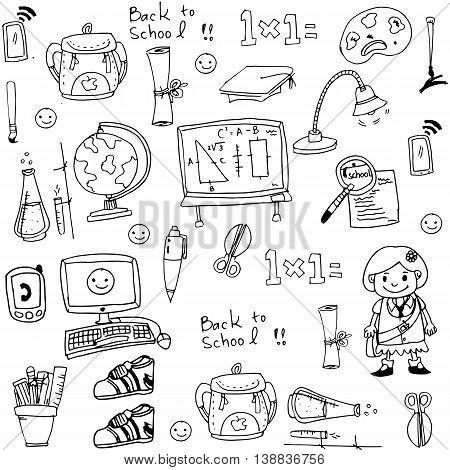 School toools in doodle collection stock vector art
