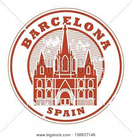 Grunge rubber stamp with words Barcelona, Spain inside, vector illustration