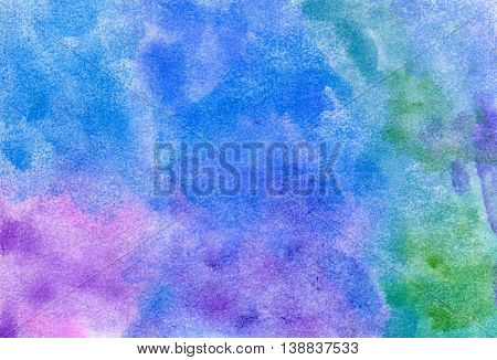 Abstract blue, purple, green, and pink spots. Hand painted watercolor illustration and paper texture