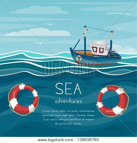 Tugboat sea adventure cartoon vector sea boat