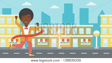 An african-american successful business woman running at the finish line. Business woman crossing finish line. Concept of business success. Vector flat design illustration. Horizontal layout.