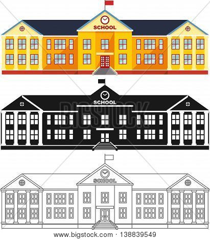 Detailed illustration of classical school building isolated on white background in a flat style.