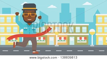 An african-american businessman running at the finish line. Businessman crossing finish line. Concept of business success. Vector flat design illustration. Horizontal layout.