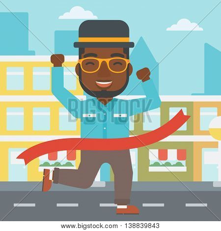 An african-american businessman running at the finish line. Businessman crossing finish line. Concept of business success. Vector flat design illustration. Square layout.
