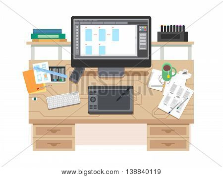 UI and UX app design workspace. Room and desk, office designer, place with computer, Flat vector illustration
