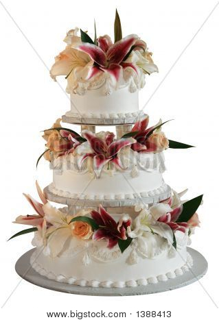 Three layer wedding cake decorated with clowers poster