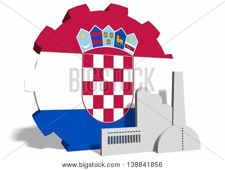 Croatia industry relative concept. Factory icon and gear textured by national flag. 3D rendering
