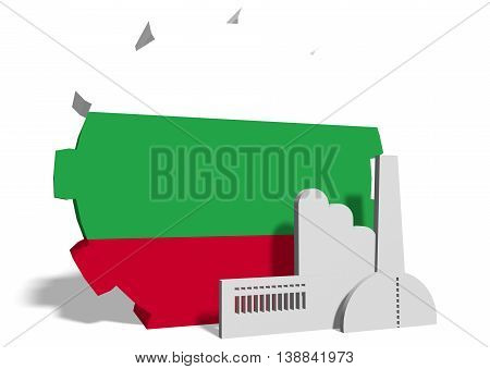 Bulgaria industry relative concept. Factory icon and gear textured by national flag. 3D rendering