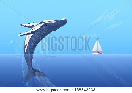 Jump humpback big huge whale near small boat ship yacht. Hidden ocean power