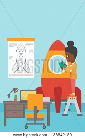 An african-american woman standing on ladder and engeneering a rocket. Woman working on the start up of a new business. Business start up concept. Vector flat design illustration. Vertical layout.