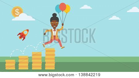 An african-american business woman with balloons flying over golden coins and a business start up rocket flying nearby. Business start up concept. Vector flat design illustration. Horizontal layout.