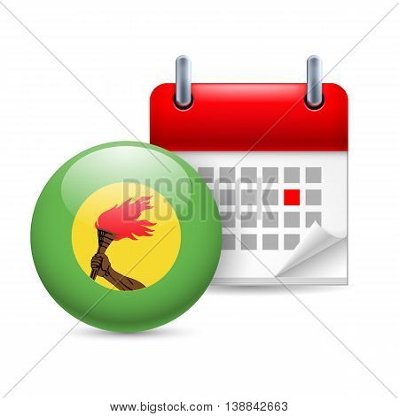 Calendar and round flag icon. National holiday in Zaire