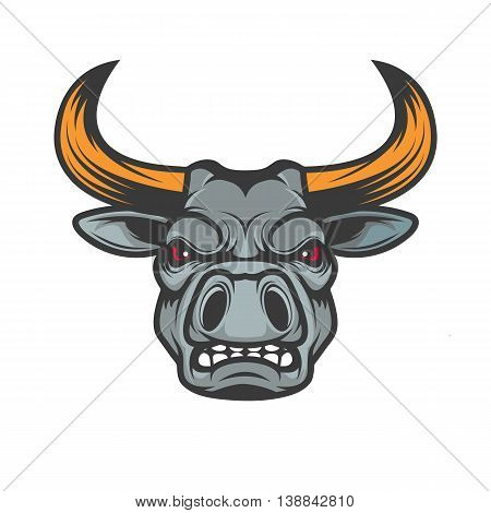 Bull head. Sport team mascot. Design element for logo label emblem sign badge. Vector illustration.