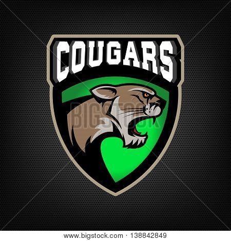 Cougars. sport team emblem. Design element for logo label emblem sign. Vector illustration.