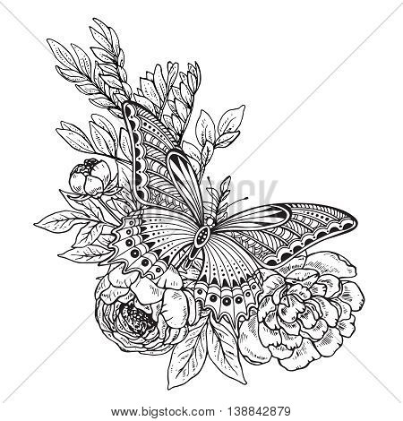 Vector illustration of hand drawn graphic butterfly on peony flowers bouquet. Black and white image for for coloring book, tattoo, print on t-shirt, bag, invitations and greeting cards.