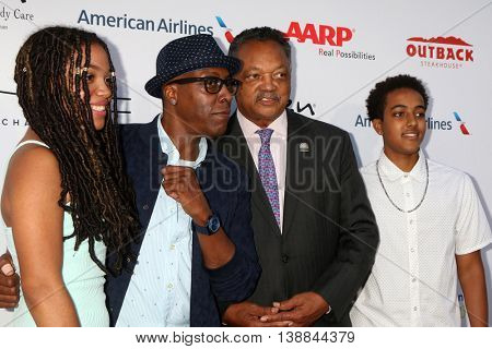 LOS ANGELES - JUL 16: Jessie Jackson's Daughter, Arsenio Hall, Jessie Jackson, Arsenio Hall Jr at the 18th Annual DesignCare at the Sugar Ray Leonard's Estate on July 16, 2016 in Pacific Palisades, CA