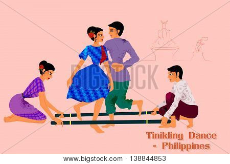 Vector design of Couple performing Tinikling dance of Philippines
