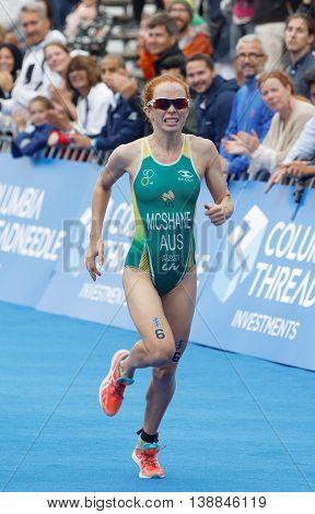 STOCKHOLM - JUL 02 2016: Triathlete Charlotte McShane (AUS) running at the finish in the Women's ITU World Triathlon series event July 02 2016 in Stockholm Sweden