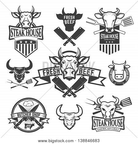 Set of labels with cow heads. Steak house Fresh beef butcher shop grill. Design element for logo label emblem sign badge. Vector illustration.