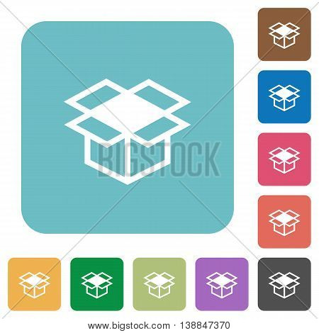 Flat open box icons on rounded square color backgrounds.