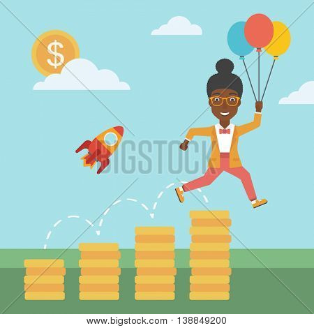 An african-american business woman with balloons flying over golden coins and a business start up rocket flying nearby. Business start up concept. Vector flat design illustration. Square layout.