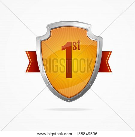 Shield First Safety Concept Isolated on White Background. Sign Guarantee. Vector illustration