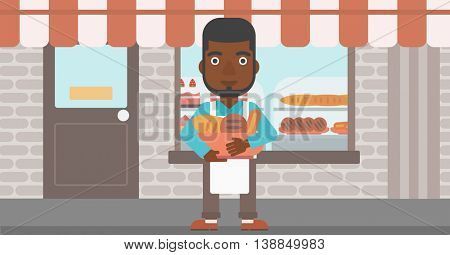 An african-american baker holding basket with bakery products. Baker standing in front of bakery. Baker with bowl full of bread. Vector flat design illustration. Horizontal layout.