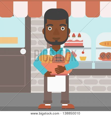 An african-american baker holding basket with bakery products. Baker standing in front of bakery. Baker with bowl full of bread. Vector flat design illustration. Square layout.
