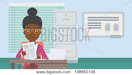 An african-american human resources manager reading application portfolios in the office. Concept of recruitment of staff, job interview. Vector flat design illustration. Horizontal layout.