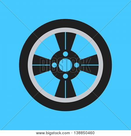Car Wheel Flat Icon On Background. Vector Illustration. Isolated.
