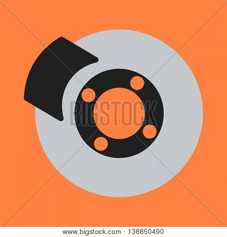 Car Brakes Flat Icon On Background. Vector Illustration. Isolated.