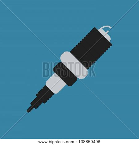 Spark Plug Flat Icon On Background. Vector Illustration. Isolated.