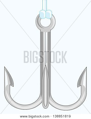 Fishing hook with three sharp teeths on white background