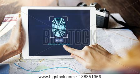 Fingerprint Scan Biometrics Identify Authorization Concept