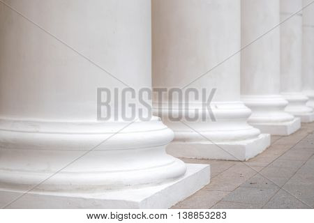 Close-up of a bright classical pillar. Black and White
