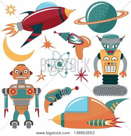 Colorful vector space invaders set with robots spaceships and planets