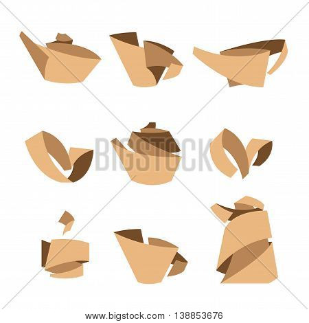 Tea. Stylish elements from the folded strips. Vector signs. Tea icons isolated on white background. Tea leaves tea pot cup of tea. Symbols set.